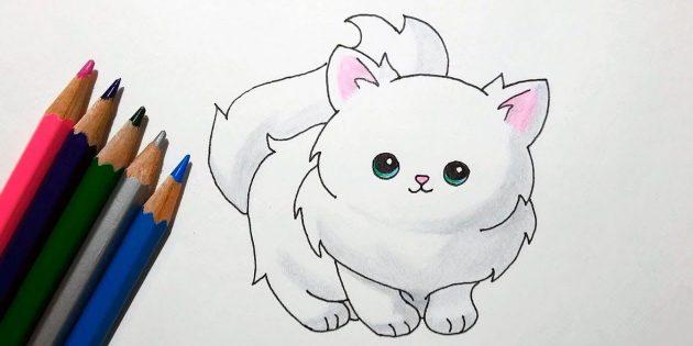 Hogyan kell rajzolni egy álló macskát egy rajzfilm stílusban