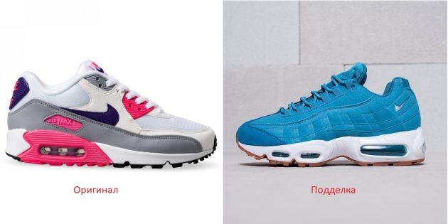 Оригинал и подделки кроссовок Nike