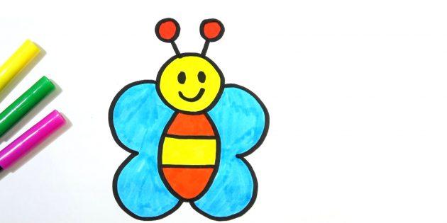 Как нарисовать простую мультяшную бабочку фломастерами или карандашами