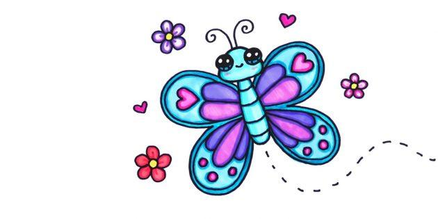 Kuinka piirtää sarjakuva perhonen hikkailijoiden tai lyijykynät