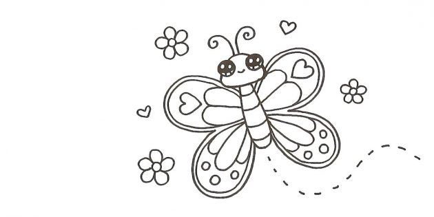 Draw a flower and hearts around the butterfly, and from the torso - a wave-like dotted line