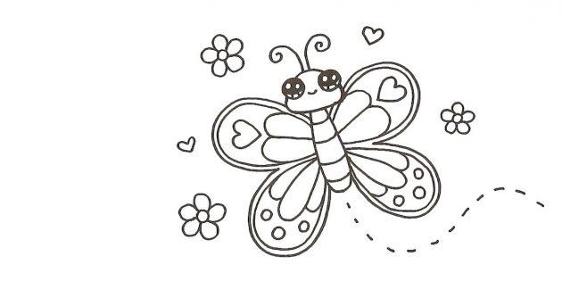 Piirrä kukka ja sydämet perhonen ympärille, ja vartalosta - aaltomainen katkoviiva