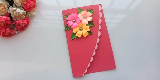 ติดกับดอกไม้โปสการ์ดและใบ