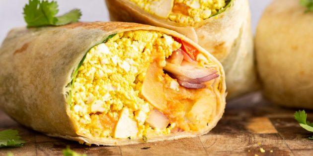 Картоп, тофу және бұршақ құймақпен Recipe Burito