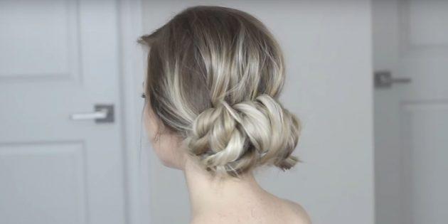 Причёски на длинные волосы: низкий пучок из перекрученных прядок