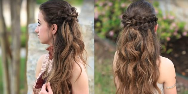 Причёски на длинные волосы: распущенные волосы с объёмными косами