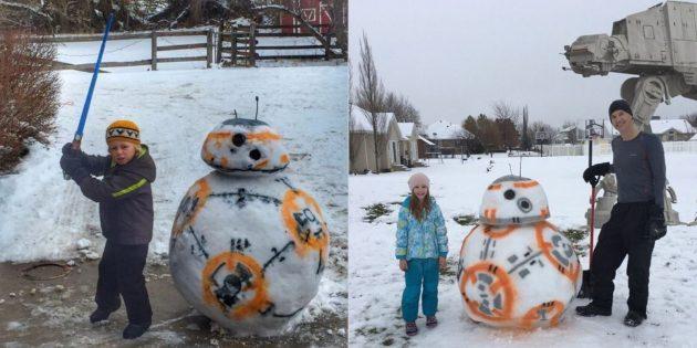 снежные фигуры BB–8