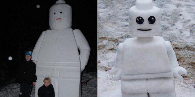 Снежные фигуры своими руками: лего-человечек