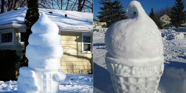 Снежные фигуры: мороженое