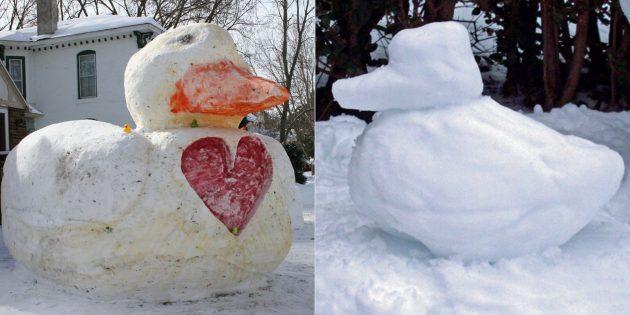снежная фигура уточки