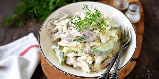 Salad dengan Chartignons dan BEEF: Resipi mudah