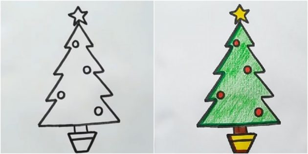 연필이나 펠트 팁으로 각도 크리스마스 트리를 그리는 방법