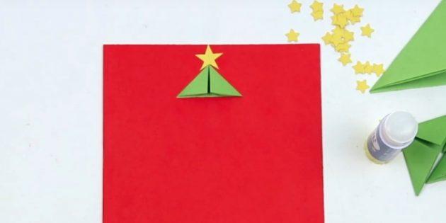 کارت پستال های سال نو آن را خودتان انجام دهید: یک جزئیات و ستاره را تیز کنید
