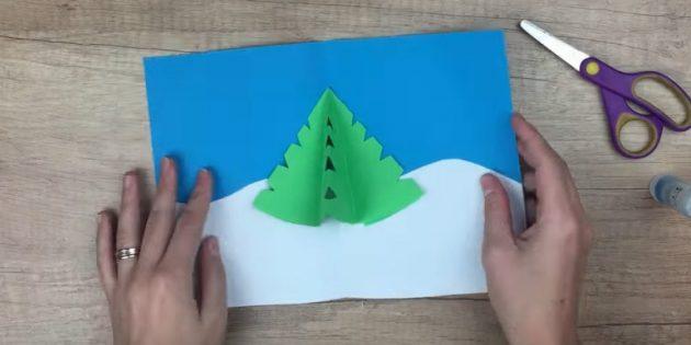 Bagong Taon Mga Postkard Gawin ito sa iyong sarili: ilagay ang Christmas tree