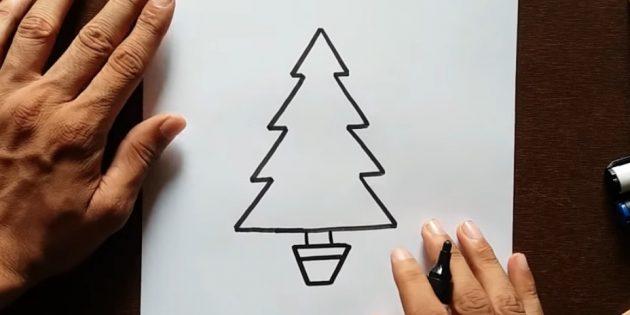 크리스마스 트리를 그리는 방법 : 트렁크를 추가하십시오.