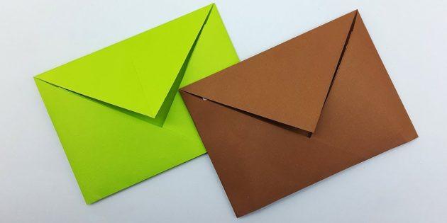 Как сделать классический конверт в технике оригами без клея
