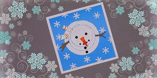 چگونه یک کارت پستال سال نو را با یک آدم برفی بسازیم