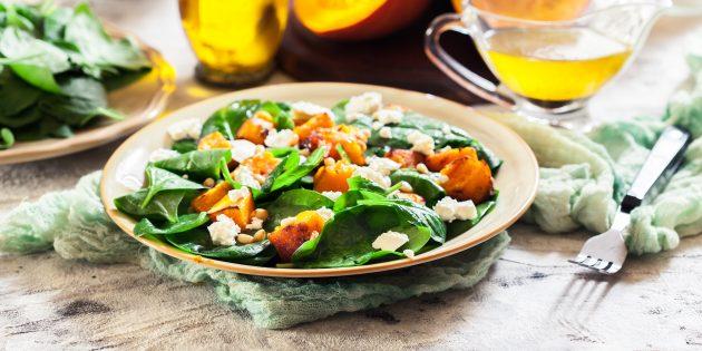 Resipi Salad Mudah: Salad labu yang dipanggang dengan bayam, keju dan kacang