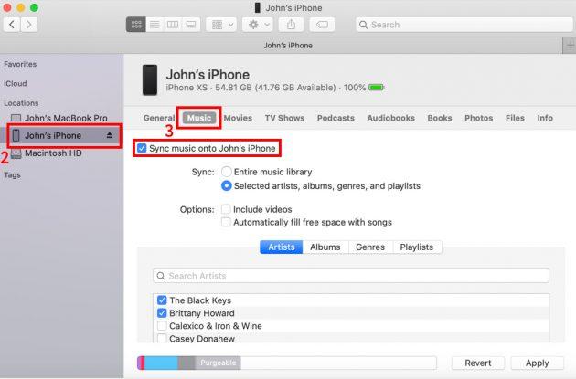 """Cum să descărcați muzică pe iPhone: Porniți opțiunea """"Sincronizați muzica la [Nume dispozitiv]"""""""