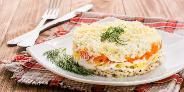 """สลัดคลาสสิก """"Mimosa"""" กับมันฝรั่งและแครอท: สูตรอาหารของสลัดที่ดีที่สุด"""