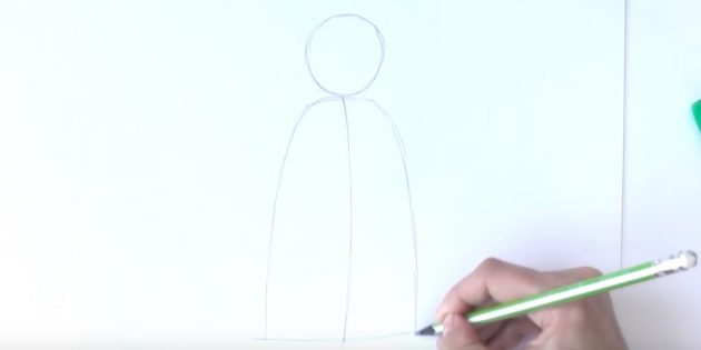 サンタクロース放牧を描く方法:頭と毛皮のコートの輪郭を作る