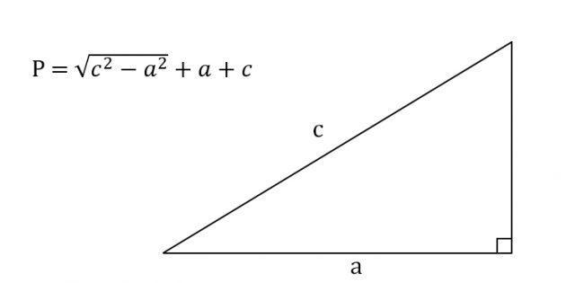 Cara mencari keliling segitiga siku-siku, mengetahui kaki dan hipotenusa