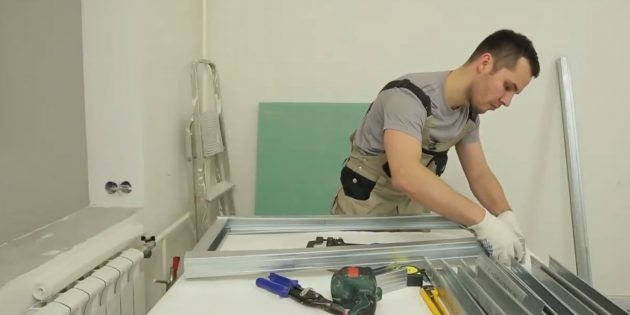 Cut on two long and two short profiles to assemble the fireplace shelf of them