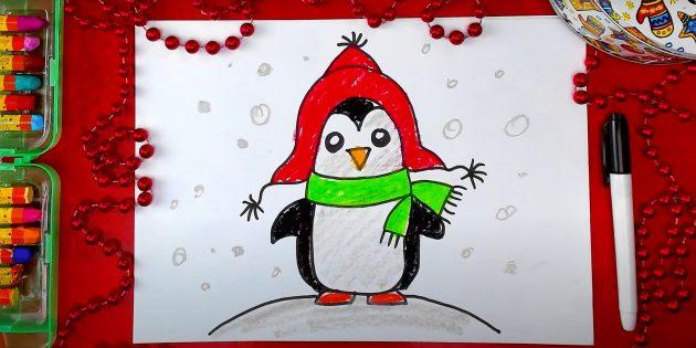 एक टोपी में एक स्थायी कार्टून पेंगुइन कैसे आकर्षित करें
