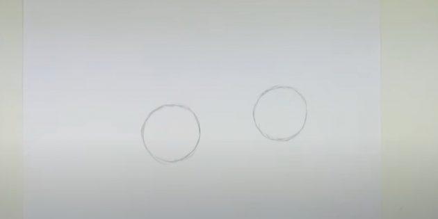 Làm thế nào để vẽ một cái thỏ rừng: Vẽ hai vòng tròn