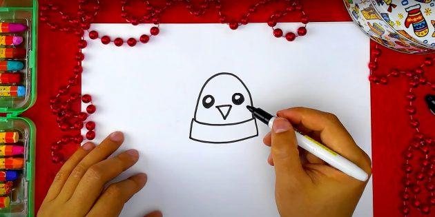 एक पेंगुइन कैसे आकर्षित करें: एक सिर, चोंच और आंखें खींचें