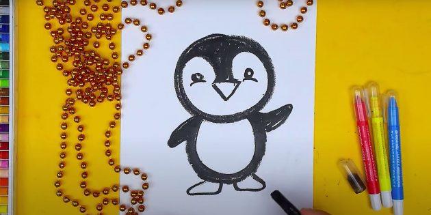 एक पेंगुइन कैसे आकर्षित करें: पैर चित्रित करें