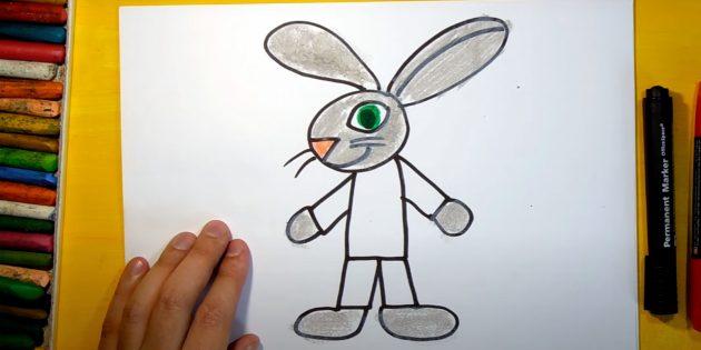 Sådan tegner du en hare: Farve næse og øjne