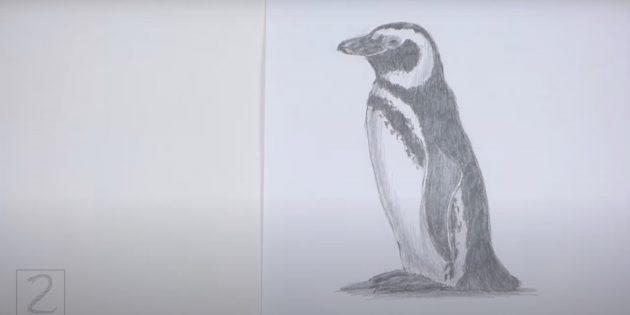 एक यथार्थवादी स्थायी पेंगुइन कैसे आकर्षित करें