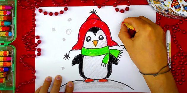 पेंगुइन कैसे आकर्षित करें: त्वचा त्वचा, स्लाइड और बर्फ खींचना