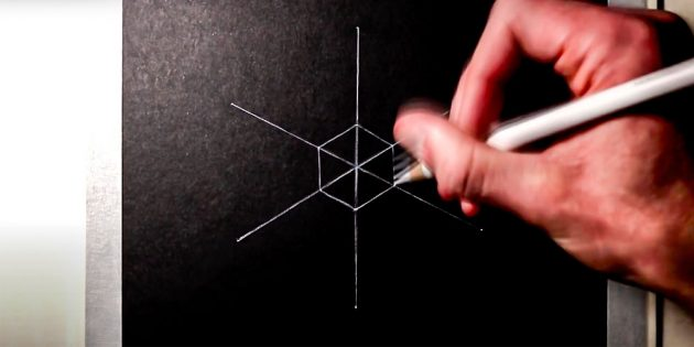How to draw a snowflake: in the center Draw a hexagon