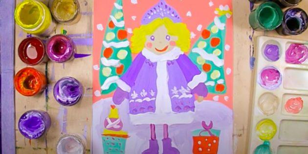 วิธีการวาดหิมะหญิงสาว gouache บนพื้นหลังสี