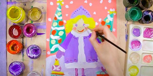 Durează ochii. Subliniem elevii de ochi, schițând haina de blană, lăsați doar blană albă. Părul pictează un creion galben. Rezumând contururile părului maro, așa cum se arată în imagine. Ascunde fața și mâinile potrivite.