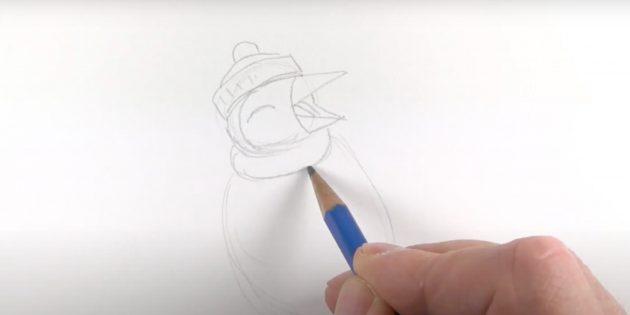एक पेंगुइन कैसे आकर्षित करें: एक दुपट्टा लें