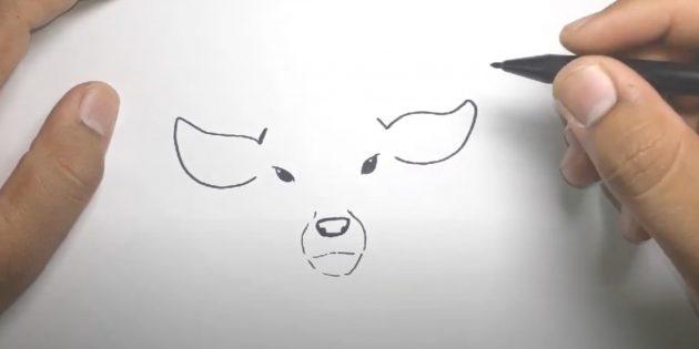 Miten piirtää hirvi: ympyröi linjan nenä ja suu, piirrä korvat