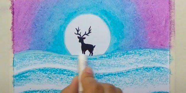 एक शीतकालीन परिदृश्य कैसे आकर्षित करें: बहाव और हिरण के सिर को आकर्षित करें