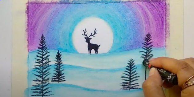 Как нарисовать зиму: нарисуйте ёлки