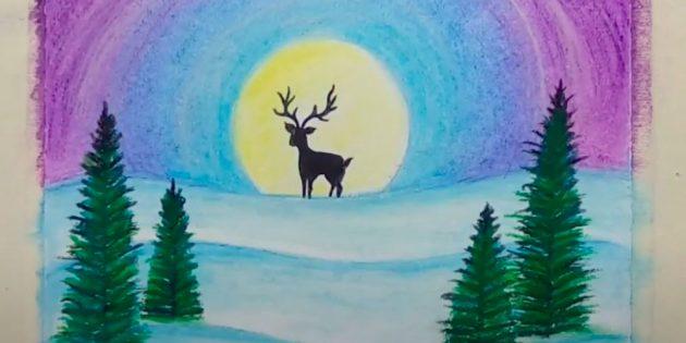 Как нарисовать зиму: раскрасьте ёлки и солнце