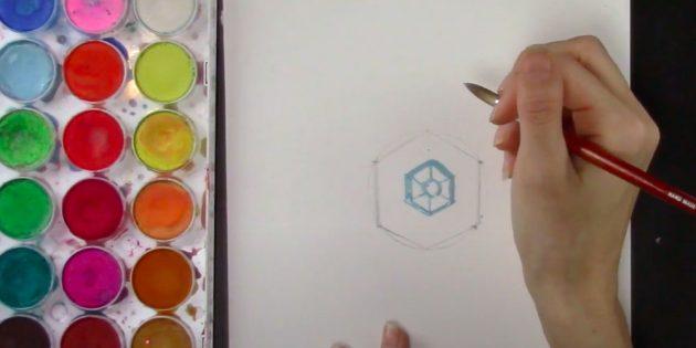 Como desenhar um floco de neve: comece a desenhar no meio do meio