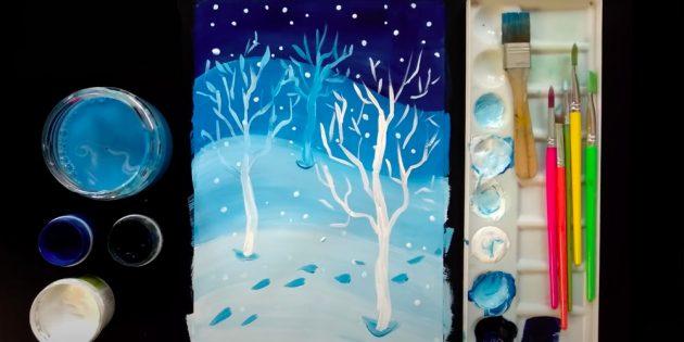 رنگ جزئیات باقی مانده را رنگ کنید. دیوارهای خانه - یک مداد نارنجی، درها، یک لوله، صنوبر خوردن و یک مسیر - براون. شما می توانید برخی از قهوه ای و روی دیوار خانه را اضافه کنید. با مداد زرد، نور را در پنجره ها و هلی کوپتر بر روی برف زیر آنها بکشید. آبی، آبی و بنفش سایه های تعیین شده بر روی یک برف ریخته گری، آدم برفی، مهر و موم و سقف. استفاده از مداد بنفش در تاریک ترین مکان ها، آبی - در درخشان ترین.
