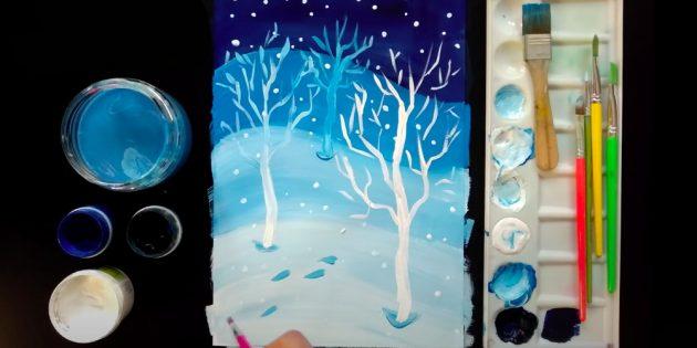सर्दियों को कैसे आकर्षित करें: एक और तीन स्नोड्रिफ्ट ड्रा करें