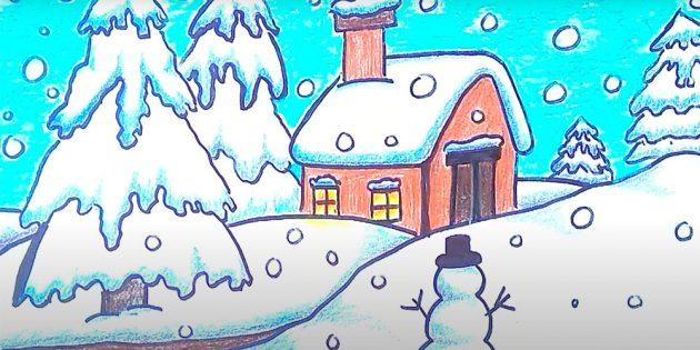 Как нарисовать зимний пейзаж с домиком
