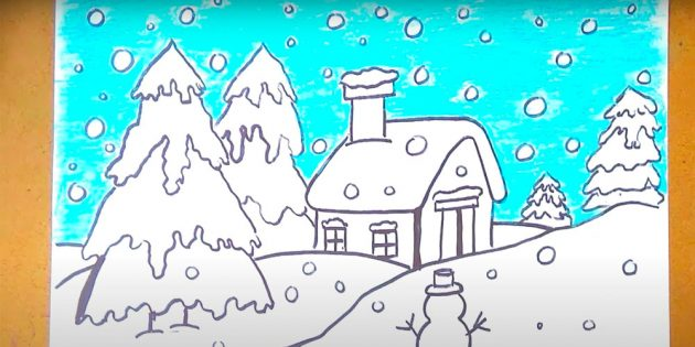 एक शीतकालीन परिदृश्य कैसे आकर्षित करें: एक घर और बहाव खींचें