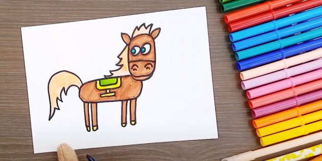 Standing cartoon horse.