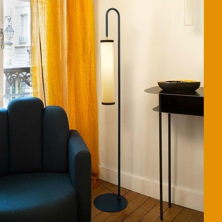tokyo lampadaire metal thermolaque et abat jour coton h140cm