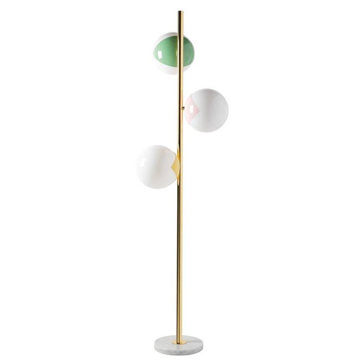 pop up lampadaire 3 lumieres pied marbre laiton et verre souffle bouche h170cm
